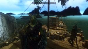 Teekus looking rather badass wearing Argonian Mercenary Armor